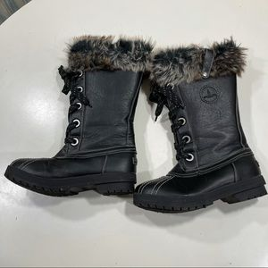 London Fog Snow Boots sz 9 Insulated Fur Bag #80